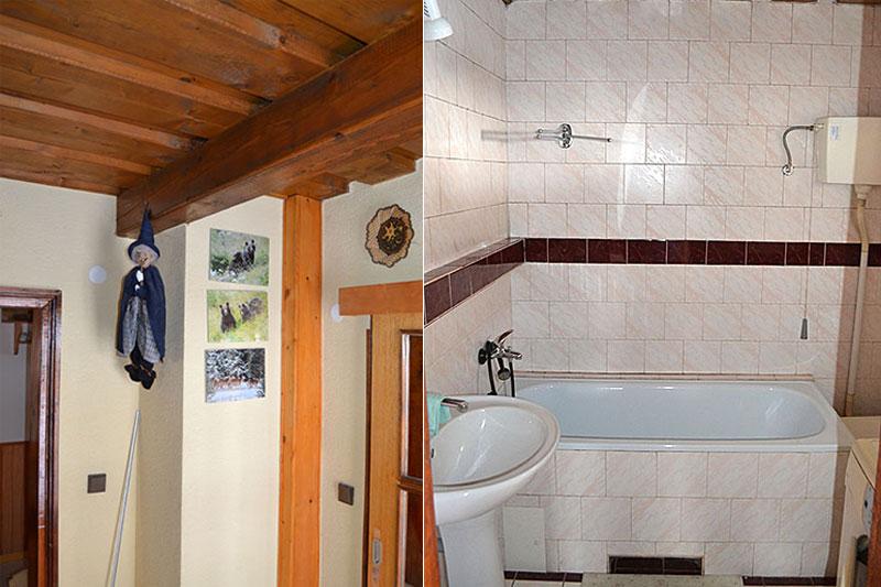 Interiér prednej drevenice, kúpelňa a chodba